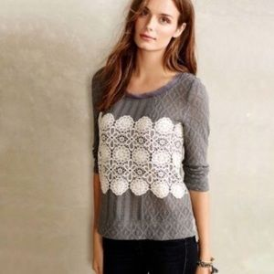 Anthropologie Meadow Rue Lace Overlay Top
